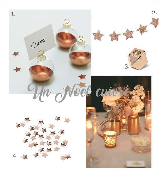 decoration de noel cuivre marque place boule, photophore suirlande détoile confettis de table