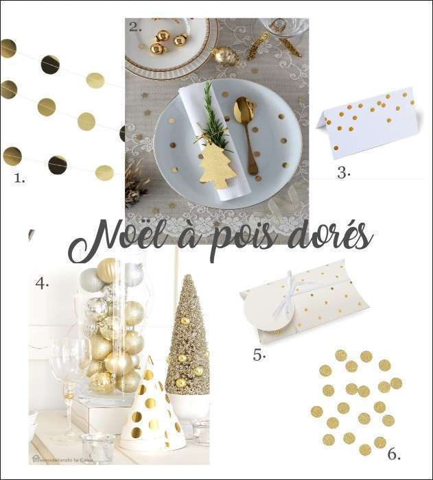 deco de table de noel pois or guirlande a suspendre confettis de table marque place boite cadeau