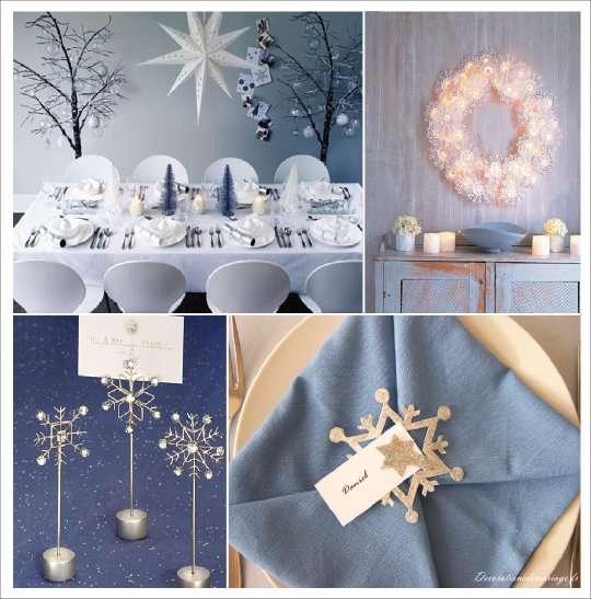 decoration noel blanc bleu porte nom etoile flocon couronne dentelle papier