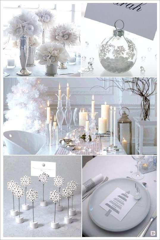 decoration table noel blanc tulle marque place boule flocon menu sapin glitter