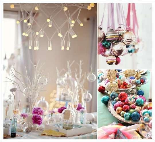 decoration table noel vintage rose bleu or boule de verre