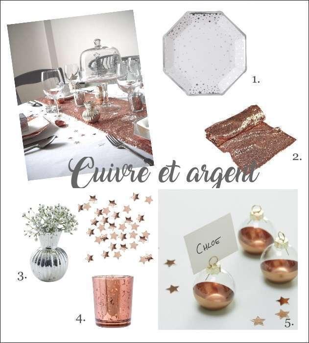 decoration table noel cuivre et argent assiette étoile cloche en verre photophore mercurisé cuivre vase mercurisé