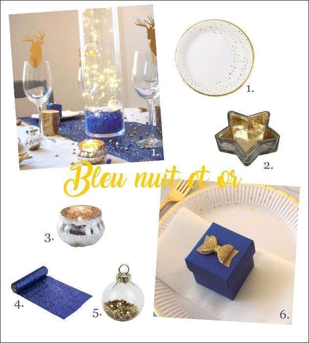 decoration noel bleu nuit et or guirlande fil lumineux marque place boule de noel chemin table bleu assiette carton étoile