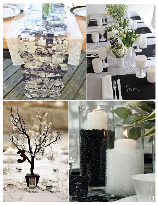 deco table noir et blanc chemin de table photos ardoise branche manzanita