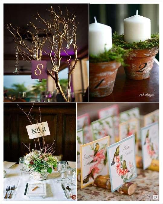 porte numéro de table arbre branche pot de fleur bambou