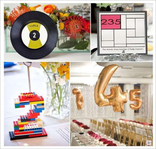 porte numéro de table tableau des elements disque vinyl  lego ballon aluminium