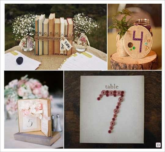 porte numéros de table noms de table livre cercle broderie boutons de couture