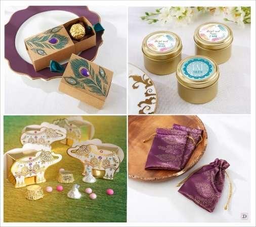 mariage oriental cadeaux invites boite drages plume de paon boite ronde dore pochon en satin