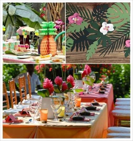 decoration mariage tropical decoration table ananas fleurs exotiques