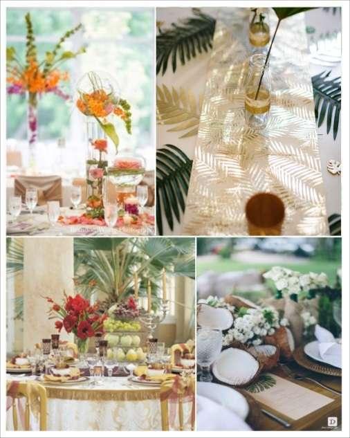 decoration mariage tropical chemin table palmier decoration table noix de coco fleurs exotiques