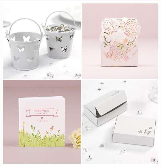 decoration mariage papillon seau à dragees boite drages fleur boite a gateau bloc note personnalisé