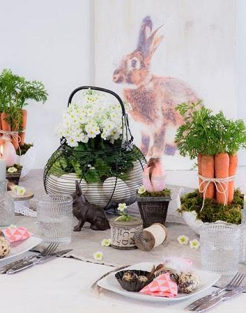 décoration de pâques bottes de carotte ambiance jardin potager