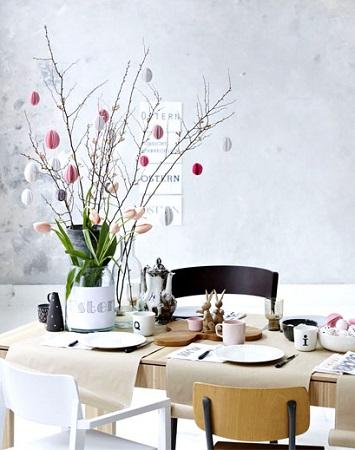 déco table pâques moderne et épurée zen