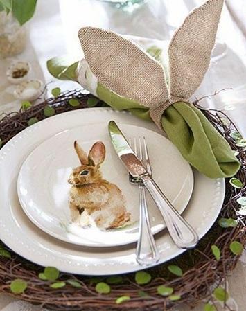 décoration pâques vintage rond de serviette en toile de jute