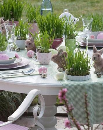 décoration pâques garden party avec herbes