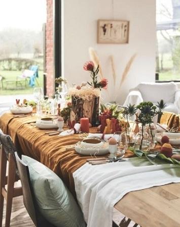 décoration table de pâques inspiration bohème fleurs séchées terracotta