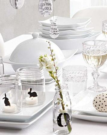déco table de pâques graphique noire et blanche avec silhouette lapin