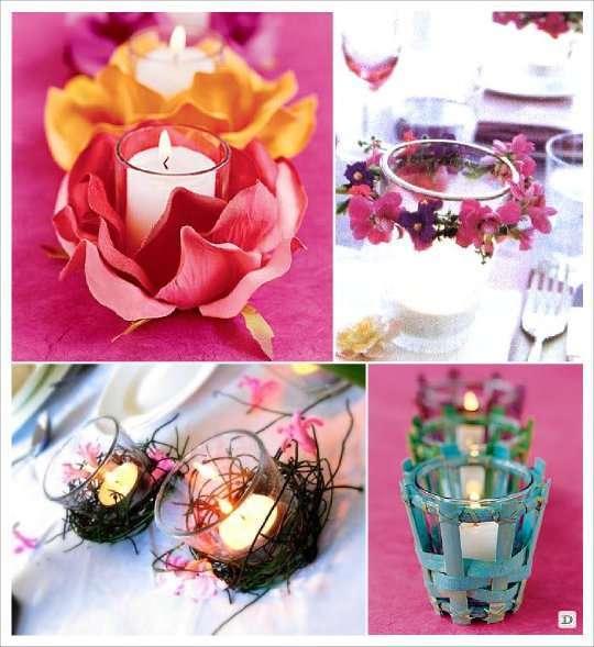 decoration photophore fleur petale nid