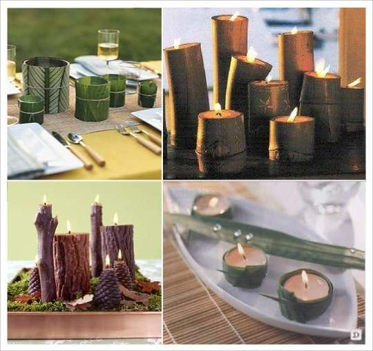 photophore bambou feuille bois