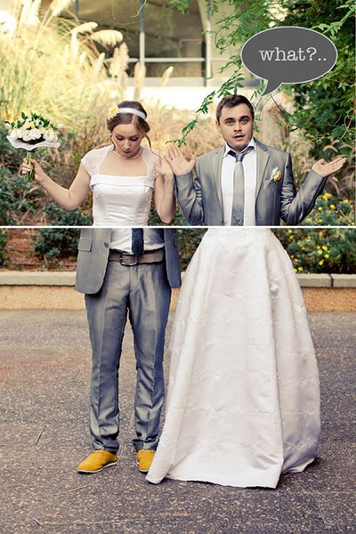 photo mariage insolite corps inverse