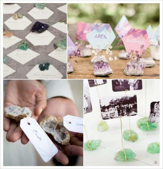decortaion mariage pierre precieuse marque place améthyste géode agathe escord card