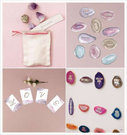decoration mariage banderole pierre precieuse geode agathe escort cards