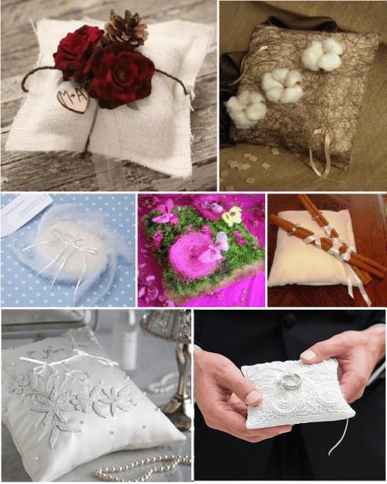 porte alliances coussin alliances coton fleurs sechees plume canelle perles