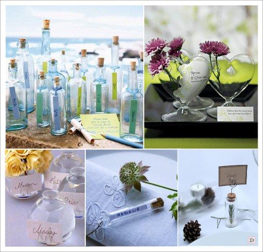 marque place mariage verre eprouvette bouteille vase boule transparente