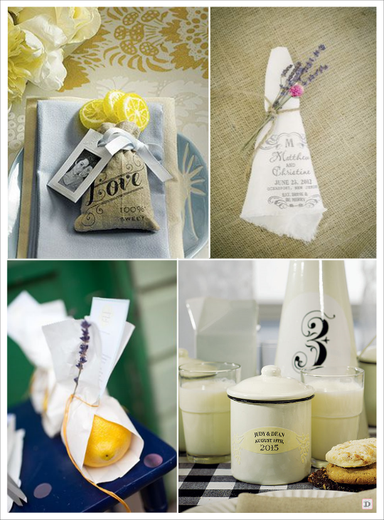decoration mariage provence pochon à dragées mouchoir citronpot en porcelaine