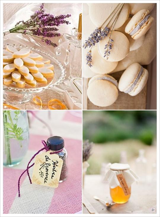 decoration mariage provence cadeaux invités calisson herbes de provence macaron lavande pot de miel