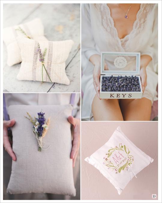 decoration mariage provence coussin alliances lavande coffret en bois