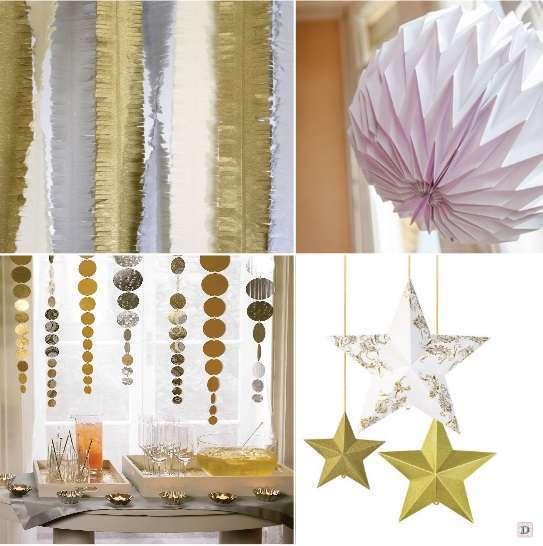 decoration de salle mariage guirlande frangesboule papier origami etoile a suspendre