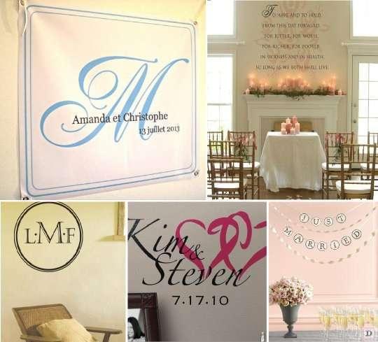 decoration_salle_mariage_mur_banniere_sticker - Voilage Mur Mariage