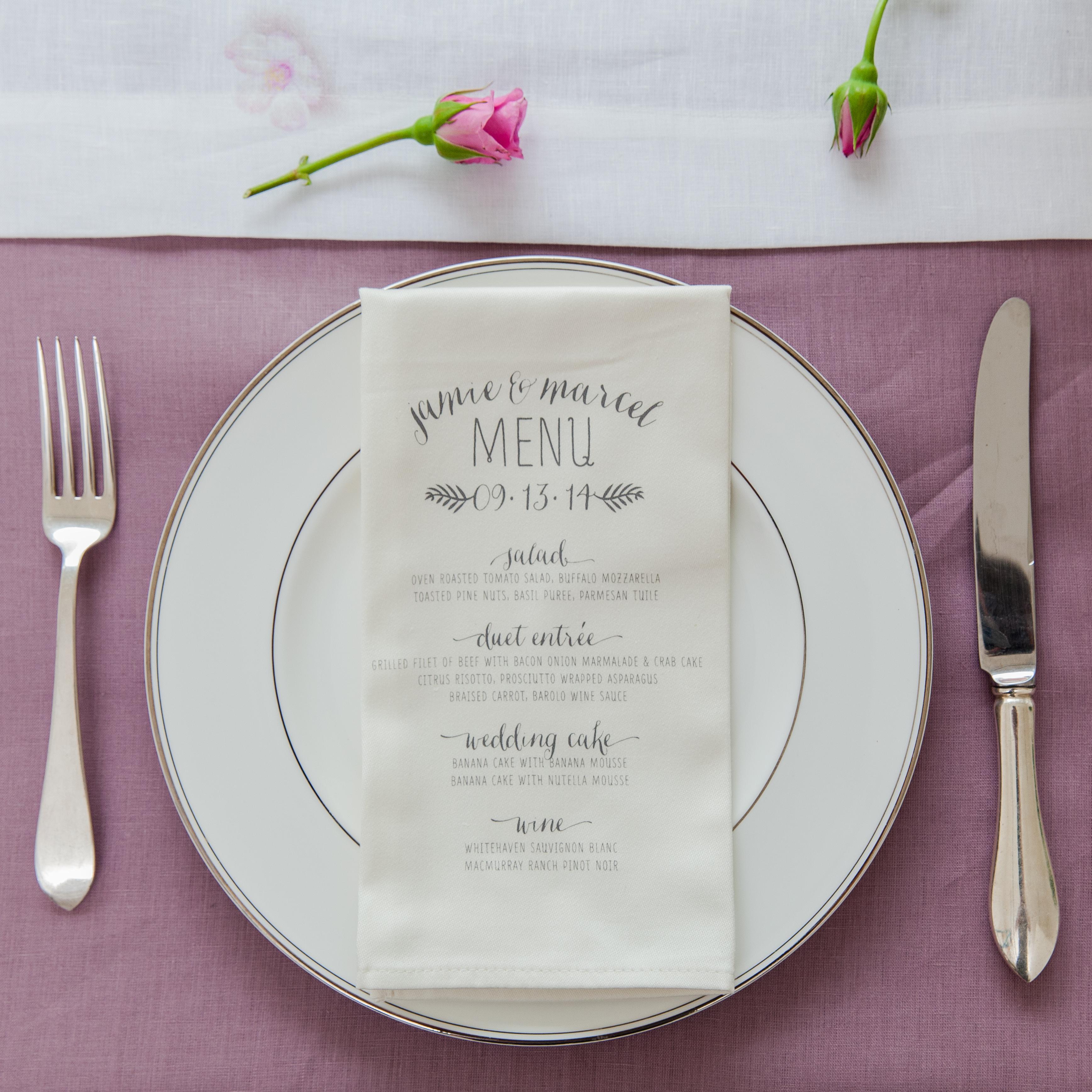 serviette personnalisée menu