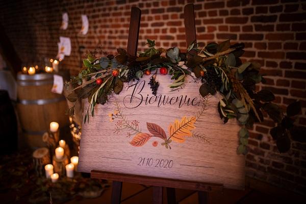 panneau bienvenue mariage d'automne