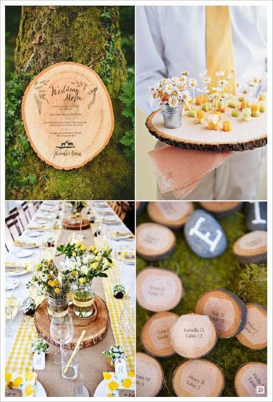 decoration mariage rondin menu grave plateau escort card rondin