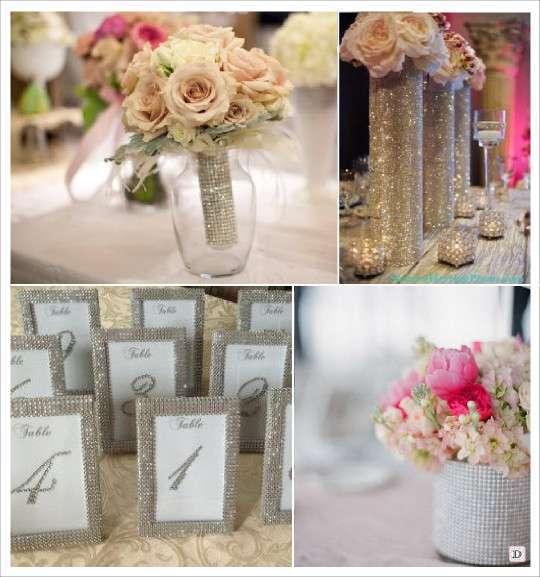ruban de strass vase bouquet mariee cadre