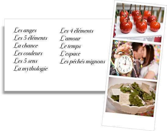 liste choisir trouvée idées thème de mariage l'amour les 5 éléments les anges les couleurs chance temps