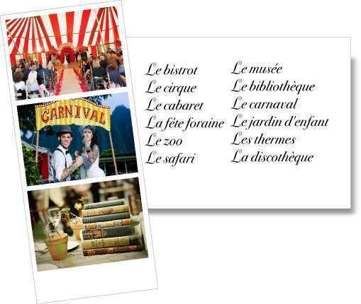 liste choisir trouver idées thème de mariage lieux fête foraine cirque zoo piscine safari musée bistrot carnaval