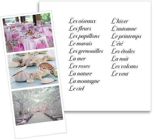 liste thème mariage nature champêtre fleurs saison automne hiver été montagne mer marais papillons