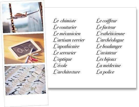 liste trouver choisir idées thème de mariage professions école couture boulanger aviation