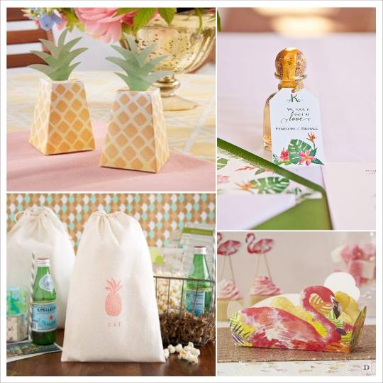 decoration mariage tropical-boite dragees ananas flamand monoi