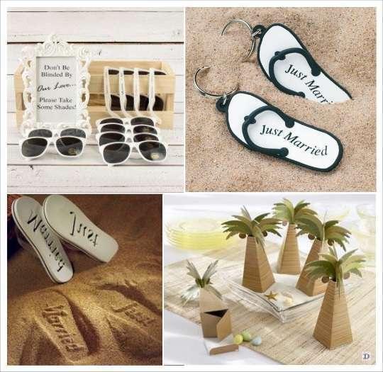 decoration mariage tropical cadeaux invites porte cles tongs lunettes soleil tongs boite dragées palmier