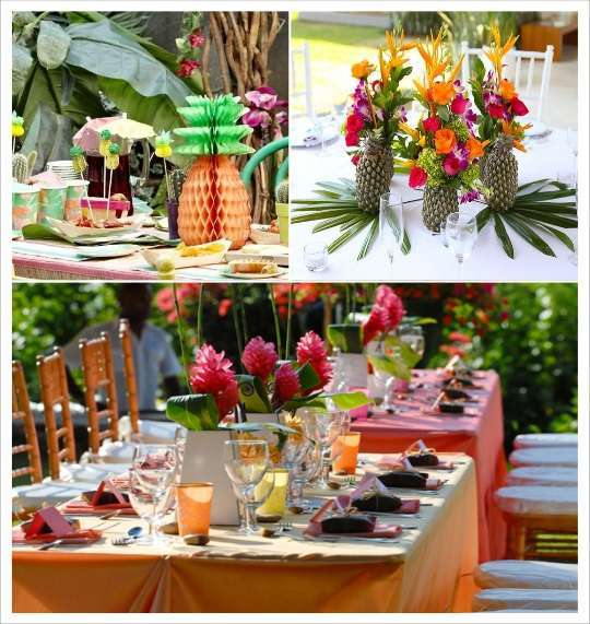Decoration mariage tropical 1001 id es - La table exotique ...