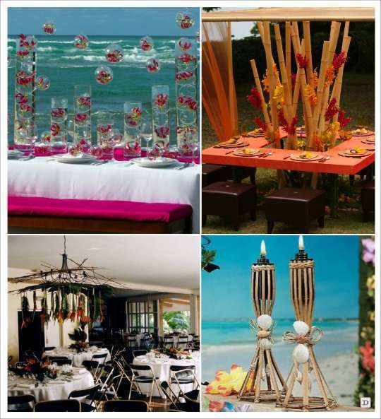decoration mariage tropical decoration salle boule en verre suspendues bambou