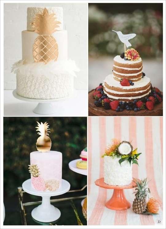 decoration mariage tropical figurine oiseau du paradis ananas noix de coco