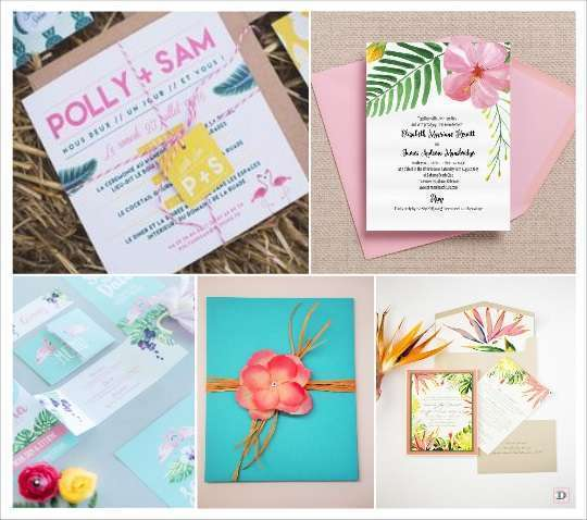 decoration mariage tropical faire part flamand rose feuillage hibiscus