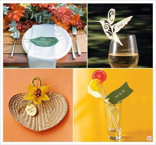 decoration mariage tropical marque place oiseau feuille eventail raphia