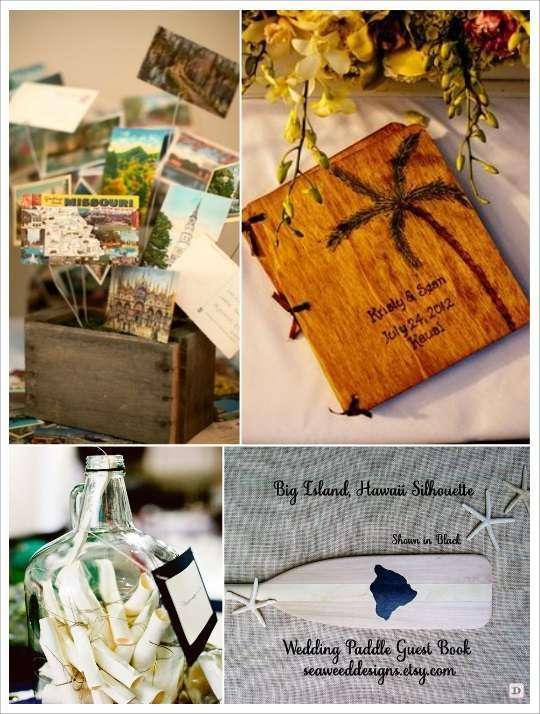 decoration mariage tropical livre d'or cartes postales bouteille rame