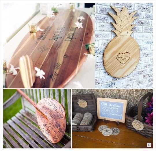 decoration mariage tropical livre d'or planche de surf ananas en bois dessous verre yukulele
